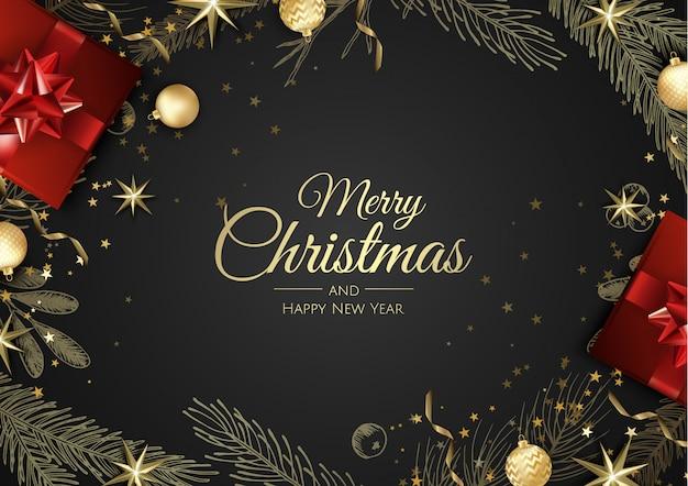Cartão de natal com enfeites de árvore de natal