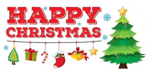 Cartão de natal com enfeites e árvore