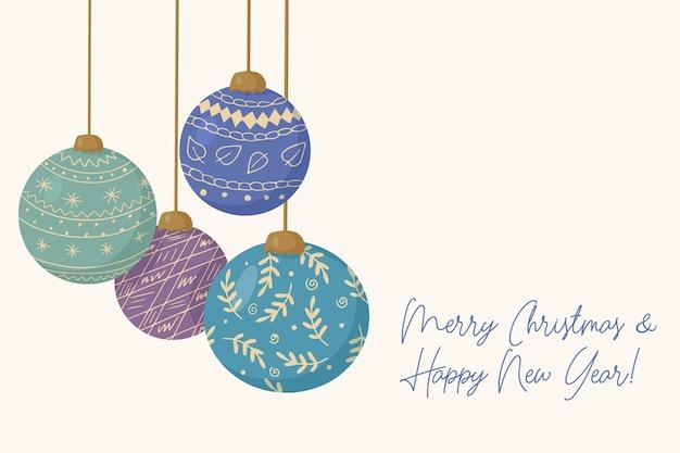 Cartão de natal com enfeites para árvore de ano novo feito de bolas de vidro