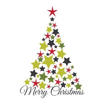 Cartão de natal com estrela na árvore de natal