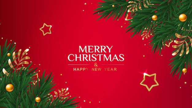 Cartão de natal com estrelas douradas e ramos de pinheiro