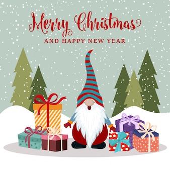 Cartão de natal com feliz gnomo e presentes