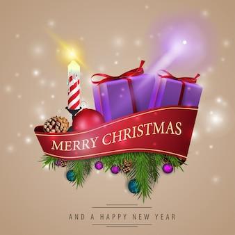Cartão de natal com fita vermelha e decorações de natal