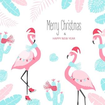 Cartão de natal com flamingo fofo em um fundo branco.