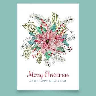 Cartão de natal com flor
