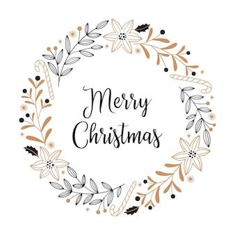 Cartão de natal com flores poinsétia, pirulito, galhos, frutas e folhas em um fundo branco. guirlanda redonda em preto e dourado, estilo doodle.