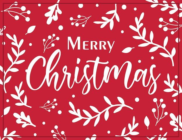 Cartão de natal com folha de azevinho vermelho