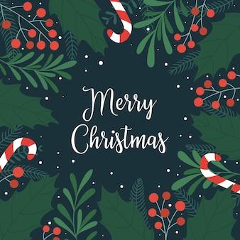 Cartão de natal com folhas e grãos de azevinho, pirulito, neve e a inscrição feliz natal.