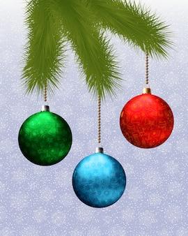 Cartão de natal com galho de pinheiro e bolas. ilustração vetorial