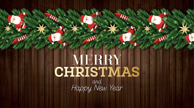 Cartão de natal com galhos de árvores de natal, foguetes vermelhos e papai noel em fundo de madeira.
