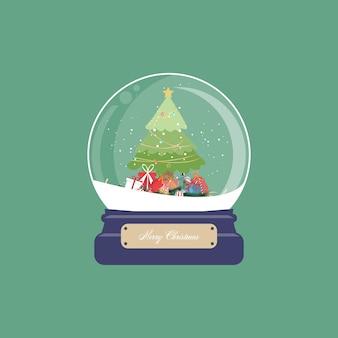 Cartão de natal com globo de neve e árvore de natal com presentes e enfeites em fundo verde. ilustração.