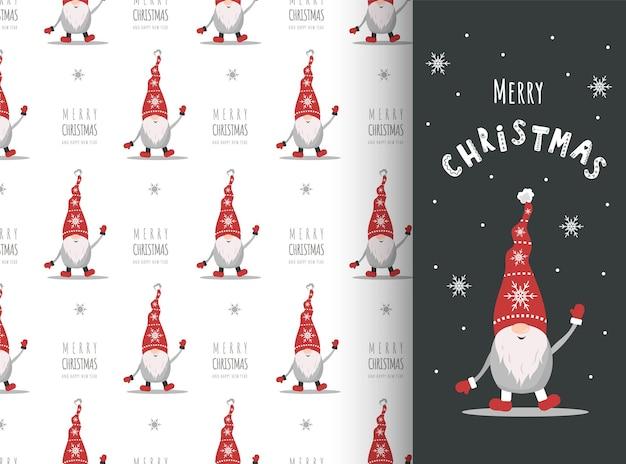 Cartão de natal com gnomo de chapéu vermelho. elfos escandinavos bonitos no padrão sem emenda.