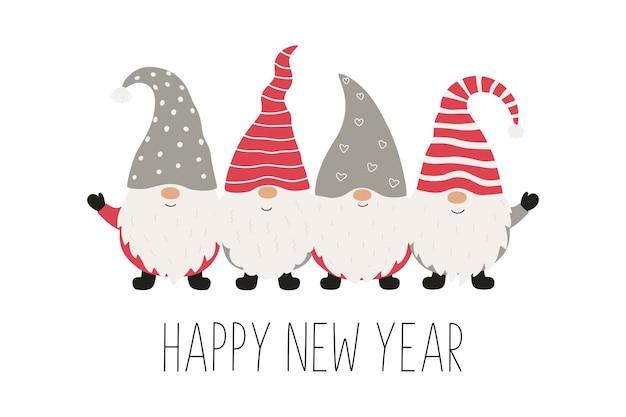 Cartão de natal com gnomos de natal. ilustração vetorial isolada no fundo branco.