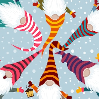 Cartão de natal com gnomos engraçados