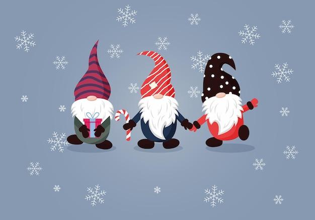 Cartão de natal com gnomos fofos. cartão de feliz ano novo e feliz natal. ilustração vetorial