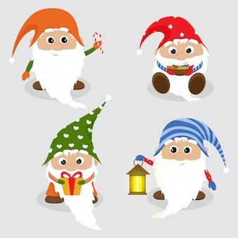Cartão de natal com gnomos fofos