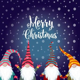 Cartão de natal com gnomos.
