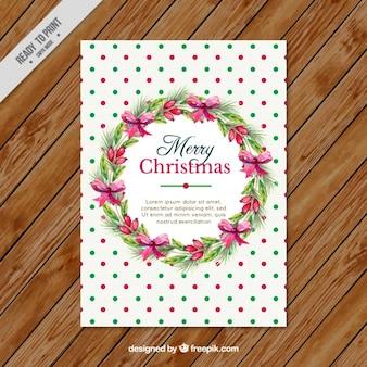 Cartão de natal com grinalda e círculos