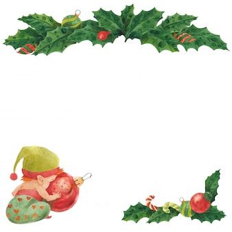 Cartão de natal com holly e bebê elf com bugiganga de vidro