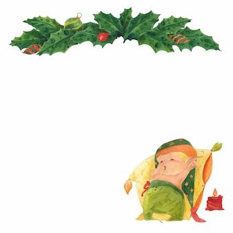 Cartão de natal com holly e duende adormecido