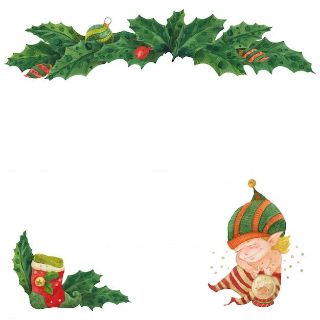 Cartão de natal com holly e elfo com bola de cristal