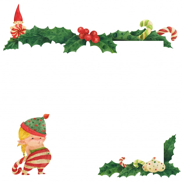 Cartão de natal com holly e garota duende com bastão de doces