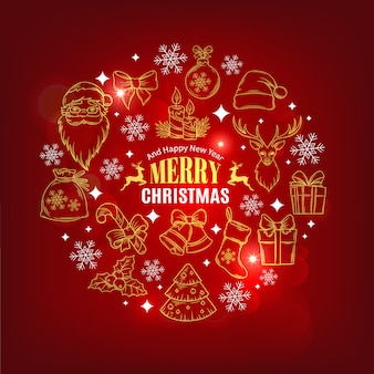 Cartão de natal com ícones decorativos