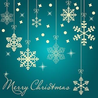 Cartão de natal com ilustração vetorial de flocos de neve