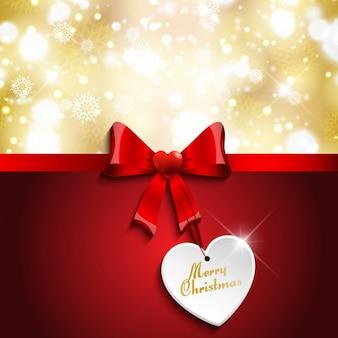 Cartão de natal com laço vermelho