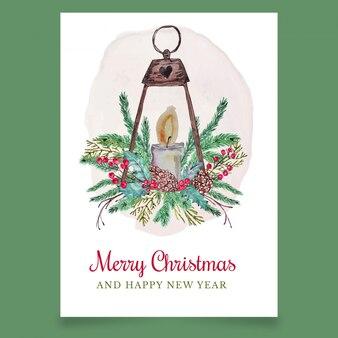 Cartão de natal com lanterna e vela