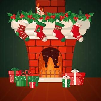 Cartão de natal com lareira e meias de natal em estilo simples. ilustração vetorial.