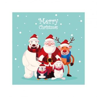 Cartão de natal com letras de feliz natal