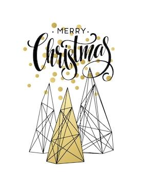 Cartão de natal com letras desenhadas à mão. cores douradas, preto e branco. elemento de design de tendências para decorações de natal e cartazes. ilustração vetorial eps10