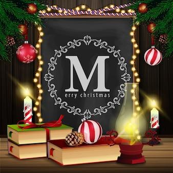 Cartão de natal com lousa, livro de natal e lâmpada velha