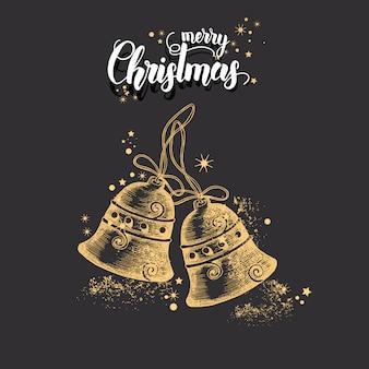 Cartão de natal com mão desenhada doodle glitter dourado e sinos de natal.