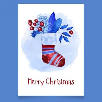 Cartão de natal com meia vermelha com folhas e viburno