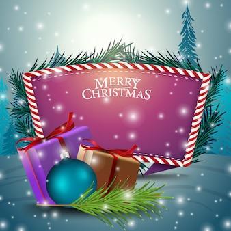 Cartão de natal com modelo de texto roxo e presentes