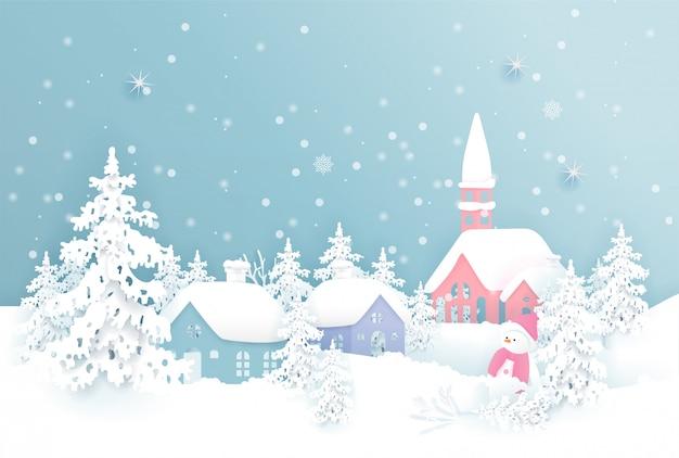 Cartão de natal com natal aldeia e queda de neve