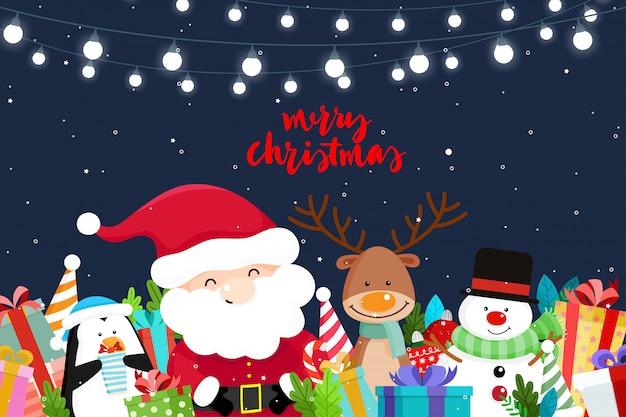 Cartão de natal com natal papai noel, boneco de neve e renas. ilustração vetorial