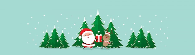 Cartão de natal com natal papai noel e renas. ilustração vetorial