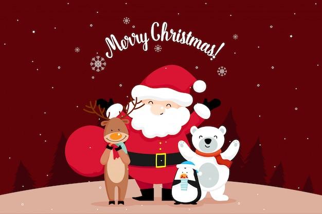 Cartão de natal com natal papai noel, urso, pinguim e renas. ilustração vetorial