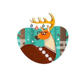 Cartão de natal com nerd hipster deer.