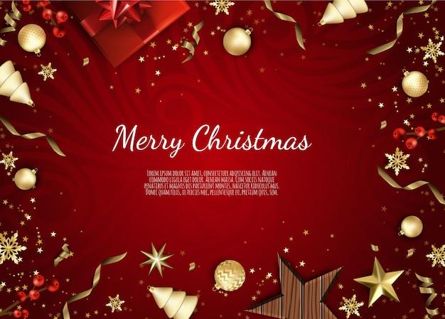 Cartão de natal com objetos de férias, feliz natal e feliz ano novo, fundo com design de caixa e bolas de presente