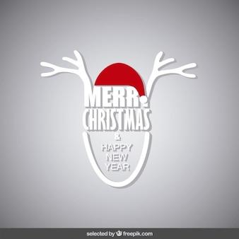 Cartão de natal com os chifres da rena