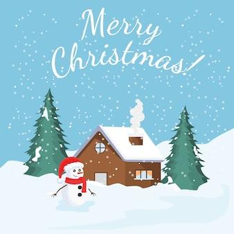 Cartão de natal com paisagem de inverno