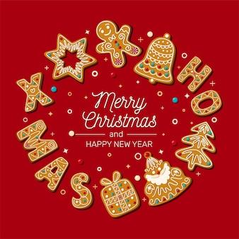 Cartão de natal com pão de mel de natal em um fundo vermelho. ilustração..