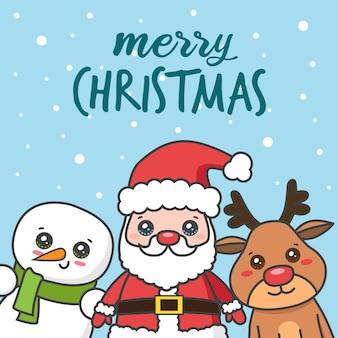 Cartão de natal com papai noel com veados e boneco de neve