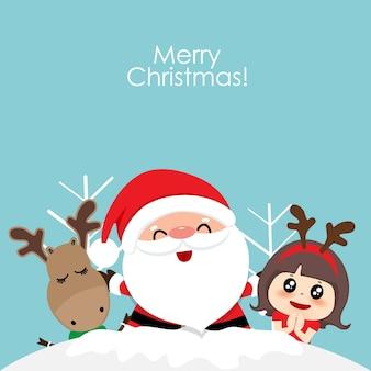 Cartão de natal com papai noel de natal