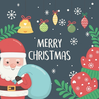 Cartão de natal com papai noel e bolas penduradas