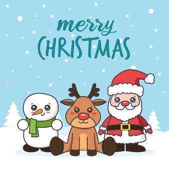Cartão de natal com papai noel e boneco de neve na neve